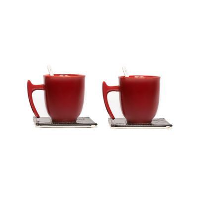 Set 2 tazas cerámica rojo + 2 posa tazas