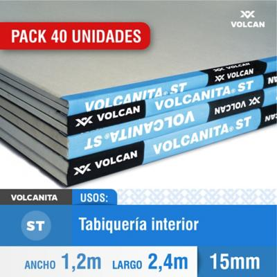 Pack 40 unid. Volcanita borde rebajado 15 mm 120x240 cm