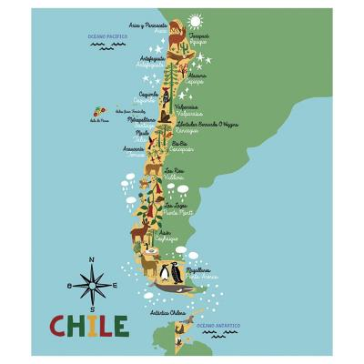 Alfombra Vinílica Mapa Chile 140x160 cm Niño