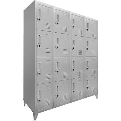 Lockers 16 puertas dobles 166x111x45 cm acero