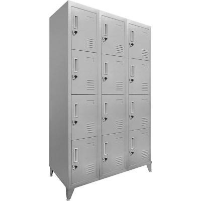 Lockers 12 puertas cuadruple 166x83x45 cm acero