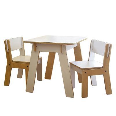 Set 1 mesa + 2 sillas Infantil Blanco