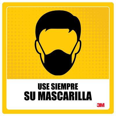 Gráfica autoadhesiva use siempre mascarilla 25x25 cm amarillo