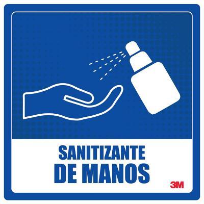 Gráfica autoadhesiva use sanitizante manos 25x25 cm azul