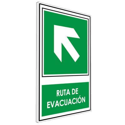 Señalética Ruta de evacuación diagonal izquierda