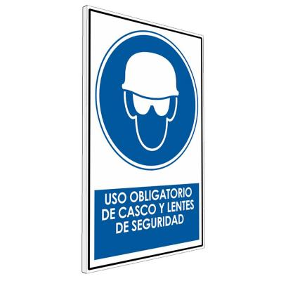 Señalética uso Obligatorio de casco y lentes