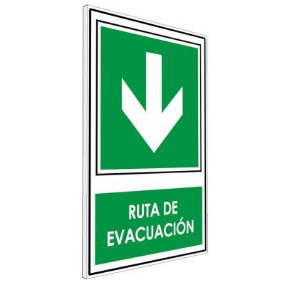 Señalética Ruta de evacuación abajo