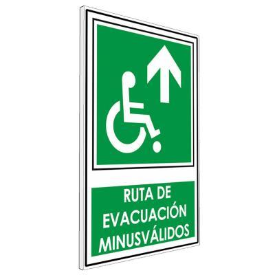 Señalética Ruta de evacuación minusválidos