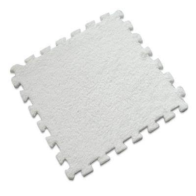 Set 6 alfombra rompecabeza shaggy blanco