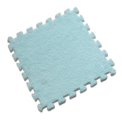 Set 20 alfombra rompecabeza shaggy celeste