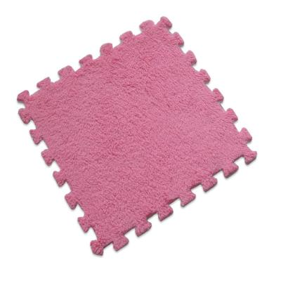 Set 12 alfombra rompecabeza shaggy fucsia