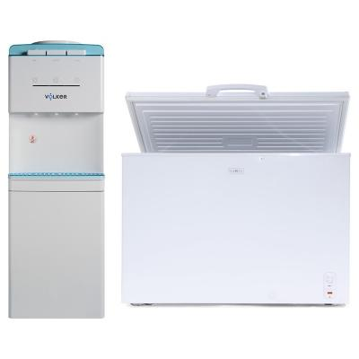 Freezer horizontal 250 litros + Dispensador de agua pedestal blanco