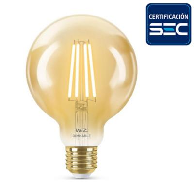 Ampolleta inteligente filamento globo WIFI LED E27 6,9W luz atenuable blanca-cálida