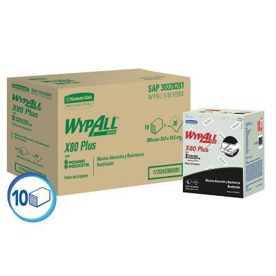 Paños industriales X80 plus verde 10 paquetes x 30 unidades