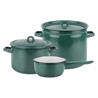 Batería de cocina 5 piezas acero carbonico verde