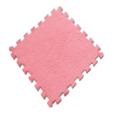 Alfombra rompecabeza shaggy rosado 30x30 cm