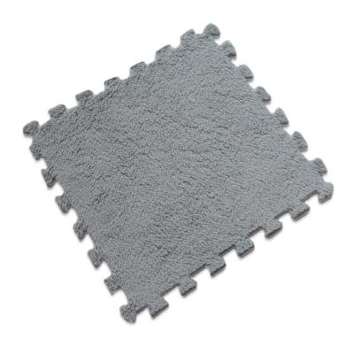 Alfombra rompecabeza shaggy gris 30x30 cm