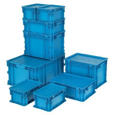 Set de 9 cajas modulares 148 lts 60x40x90 cm azul