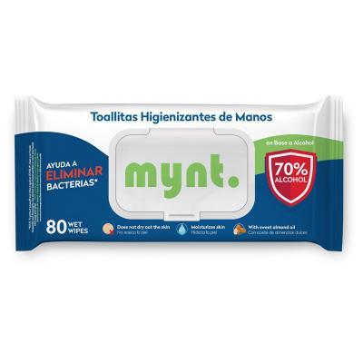 Toallas higienizantes 70% Alcohol 80 unidades