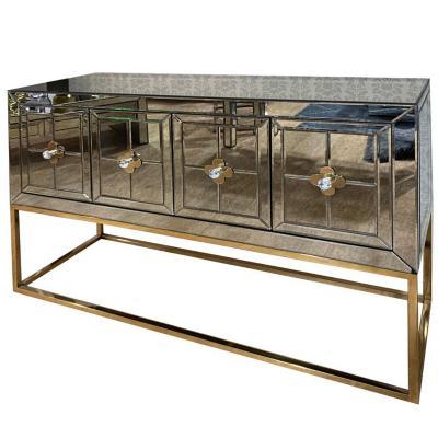 Buffet espejo envejecido pata dorada 120x80x40 cm