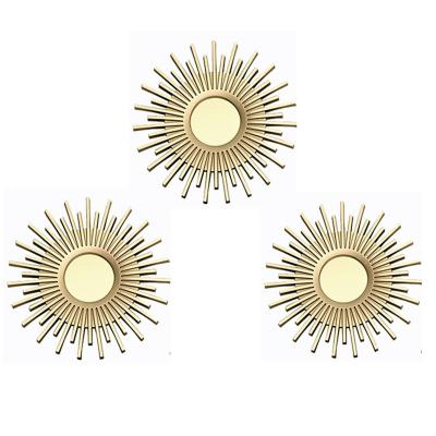 Set de 3 espejos redondos dorado 25 cm c/u