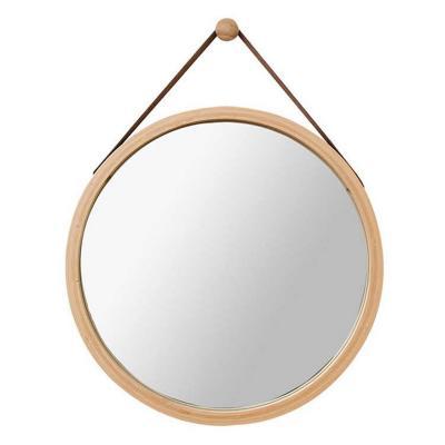 Espejo redondo simil madera con correa 35 cm