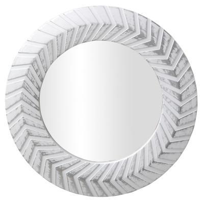 Espejo redondo lineas blanco viejo 25 cm