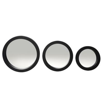 Set de 3 espejos redondos negro 17-23-27 cm