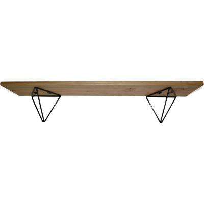 Repisa madera + soporte acero 15x80x15 cm negro
