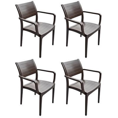 Set 4 Silla terraza Madeira 82,5x43x45,5 Café