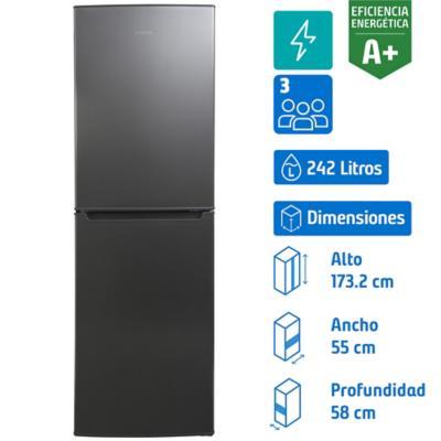 Refrigerador frio directo bottom 242 litros silver
