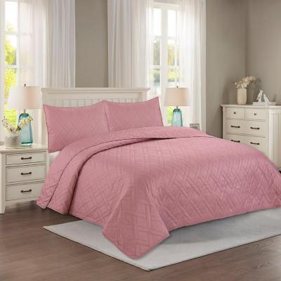 Quilt hotpress liso rosado 2 plazas