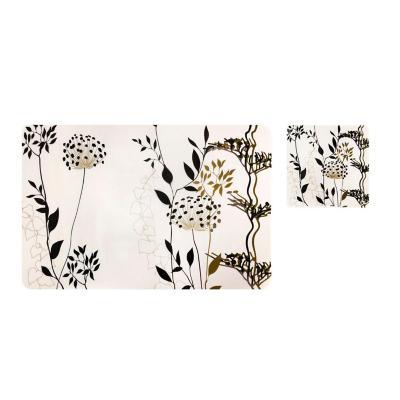 Set 12 individuales + posavasos 43x28 cm flores