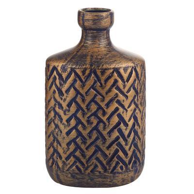 Botella decorativa de cerámica 25 cm azul dorado