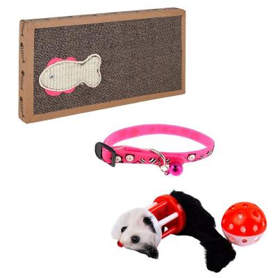 Pack para gato collar+juguete ratón+tabla rascador