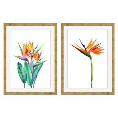 Set 2 cuadros flor del pájaro 60x80 cm