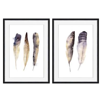 Set 2 cuadros plumas 50x70 cm