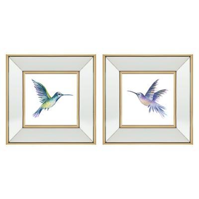 Set 2 Cuadros Colibríes marco espejo 30x30 cm