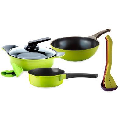 Batería de cocina 9 piezas cerámica verde