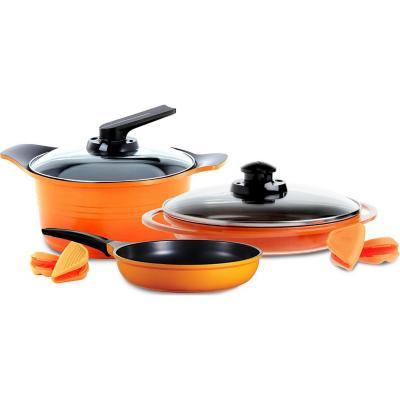 Batería de cocina 5 piezas cerámica orange