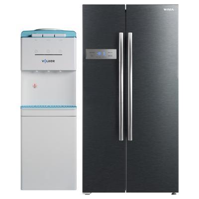 Refrigerador side by side 527 litros inox + Dispensador de agua pedestal blanco