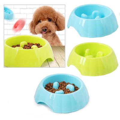 Plato alimentación lenta para mascotas azul