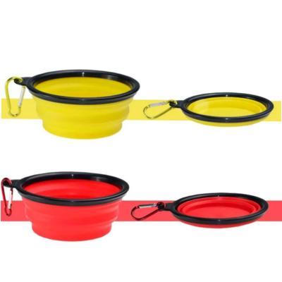 Pack 2 platos plegable para mascotas amarillo+rojo