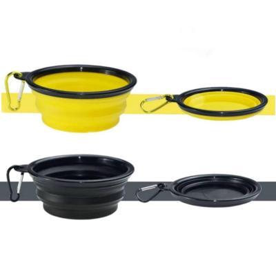 Pack 2 platos plegables mascota amarillo + negro