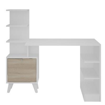 Escritorio estante 120x120x45 cm blanco/roble