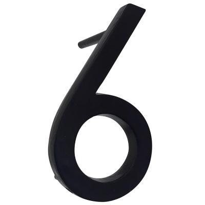 Número 6 fierro 10 cm negro