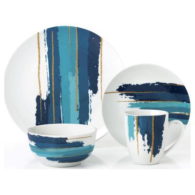 Juego de vajilla 16 piezas azul-gold