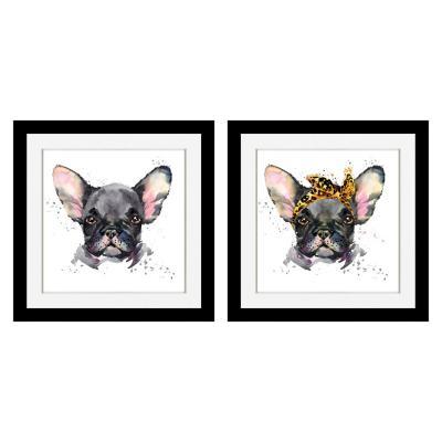 Set 2 cuadros pareja Bulldog Francés 30x30 cm
