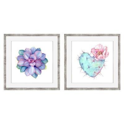 Set 2 cuadros Corazón suculenta 50x50 cm