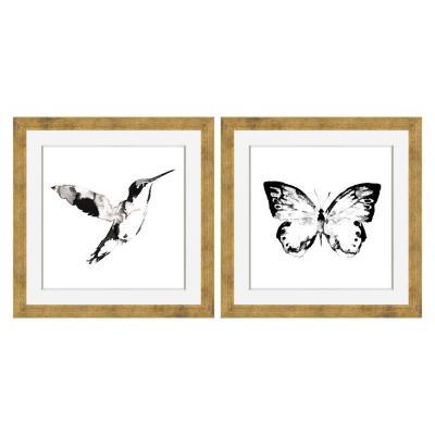 Set de cuadros aves blanco y negro 30x30 cm